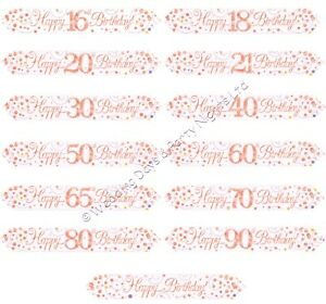 9ft Sparkly Rose Gold White Foil Banner Party Wall Door Window Decorations O