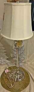 Ralph Lauren Silver Polished Chrome Silver Tall Candlestick Lamp Shade BRAND NEW