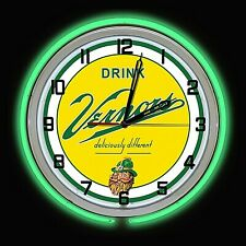 "19"" VERNORS Deliciously Different Ginger Ale Sign Green Double Neon Clock"