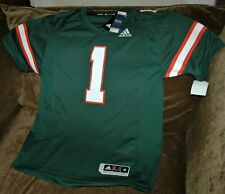 Miami Hurricanes football jersey MENS medium NEW with tags Adidas Premier green