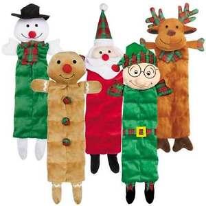 Holiday Squeaktaculars Dog Toys Choice Of Gingerbread Man Santa or Elf Character