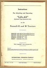 1941 IH Farmall H& M Tractor Lift All Hydraulic Cylinder Instructions,Parts List