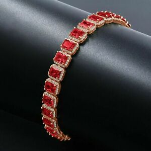 Ruby Red Solitaire Simulated Diamond 14K Rose Gold Finish Unisex Bracelet 8.5''