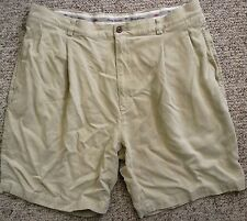 TOMMY BAHAMA 100% Silk Shorts Pleated Beige/Khaki 4 Pockets Logo Men's 38 XL