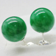 Sterling Silver - 10mm - Natural Green Emerald Stud Earrings