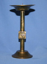 Vintage Brass Candlestick Candle Holder With Cross