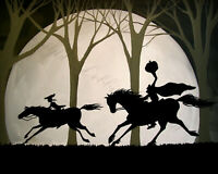 8x10 Art Print Halloween THE CHASE Headless horseman Sleepy Hollow moon horse DC