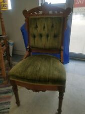 Antique Victorian Carved Green Velvet Parlor Chair