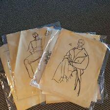 Lot 5 Sitting Males Starring into Space Sketches Romance Novel Elaine Gignilliat