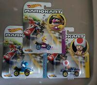 Hot Wheels Mario Kart Die-Cast Wario Toad Light Blue Yoshi 2019 lot of 3
