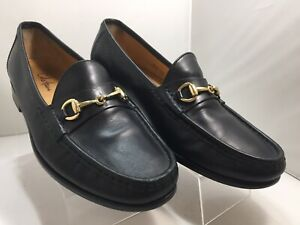 COLE HAAN BLACK LEATHER LOAFERS WITH GOLD HORSEBIT MEN'S SIZE 8.5 M