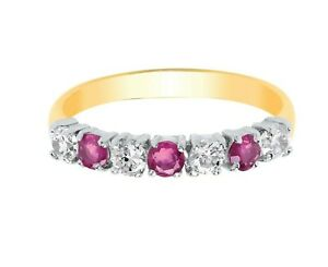 Ruby Eternity Anniversary Ring Solid Yellow Gold Hallmarked British Made