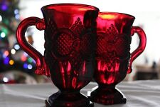 Avon Ruby Red Vintage Cape Cod 1876 Pedestal Coffee Mugs Goblets