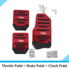 New 3Pcs/Set Manual Car Accelerator Brake Clutch Non-Slip Foot Pedal Cover Red