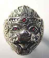 LOOK Lord HANUMAN deity Sterling Silver ruby eyes Hindu Ring Jewelry Buddha Monk