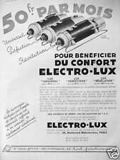 PUBLICITÉ ELECTRO-LUX ASPIRATEUR 50 Frs/Mois POUR BÉNÉFICIER DU CONFORT