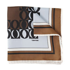 New $190 TOM FORD Brown and Sky Blue Contrast Print Silk Pocket Square