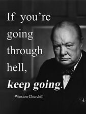 Metal Sign inspirational Winston Churchill quote tin decorative wall plaque gift