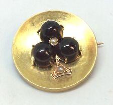 22k Yellow Gold Cabochon Garnet & Pearl Pin/Brooch 6.8grams