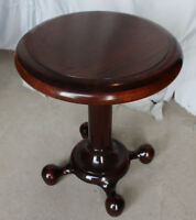 Antique Mahogany Pedestal Parlor Table – original finish - Smooth Lines - Ball B