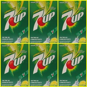 7 Up Lemon Lime Sugar Free On The Go Naturally Flavored Drink Mix 6 Boxes of 6