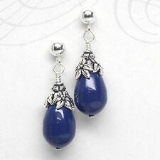 Navy Crystal Pearl Stud Earrings, Petite, Post, Dangle, Blue