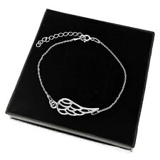 925 Sterling Silver Angel Wing Bracelet Adjustable Gift Box Remembrance Bracelet