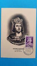FRANCE CARTE MAXIMUM YVERT 1027 PHILIPPE AUGUSTE 12F + 5F GONESSE 1955 L 386