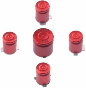 Red Aluminium Alloy Metal ABXY Home 9mm Bullet Button Set Xbox 360