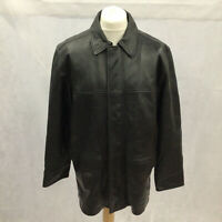 Mens M&S Mark And Spencers Size L Large Black Soft Leather Jacket Casual