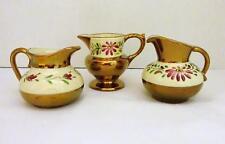 Vintage Set of 3 Miniature Porcelain Bronze Lustre Creamer Pitchers
