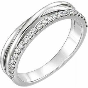 Diamant Croisillons Bague 14K or Blanc (1/4 Ct.
