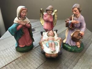 "Vintage Depose Fontanini Italy Nativity Set Mary Joseph Jesus Angel LOT 4.5"" #29"