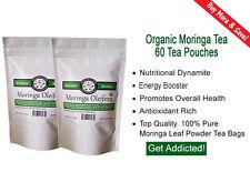 60 Organic Moringa Oleifera Tea Bags w/ 100% Leaf Powder For Best Absorption