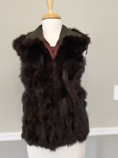 Fur and Leather Andrew Marc Ladies Lined Vest Opossum Black Brown Size Small