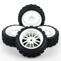 4PCS Rally Tyres  Tires&White Wheel Rim for HSP HPI 1/10 RC Model Racing Car