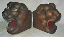 2 ANTIQUE ARCHITECTURAL USA WOOD BLOCK CORBEL LION HEAD ART STATUE BOOKENDS US
