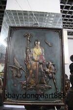 "47"" Chinese Wood god of longevity Old Man Men red-crowned crane Deer Wall Plaque"