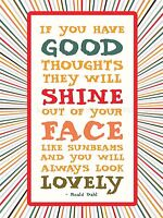 ROALD DAHL GOOD THOUGHTS HINE FACE QUOTE MOTIVATION TYPOGRAPHY POSTER QU320A
