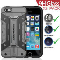 """360° Protection Hybrid Armor Hard Case Cover +2XTempered Glass iPhone 6 6S 4.7"""""""