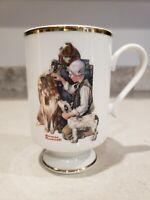 Danbury Mint Norman Rockwell Porcelain Gold Rim Making Friends 1981 Mug