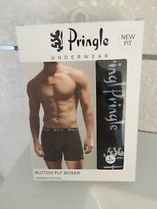 MENS PACK OF 3 BLACK BUTTON FLY BOXER SHORTS BY PRINGLE UNDERWEAR - SIZE LARGE