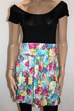 PURE HYPE Brand Black Floral Skirt Short Sleeve Skater Dress Size L BNWT #RA86