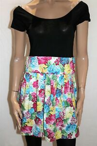 PURE HYPE Brand Black Floral Skirt Short Sleeve Skater Dress Size L BNWT #RA86