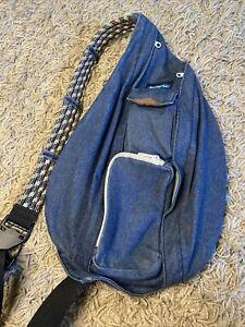 KAVU - Rope Sling Bag Crossbody Shoulder Hiking Backpack - Blue Denim Pattern