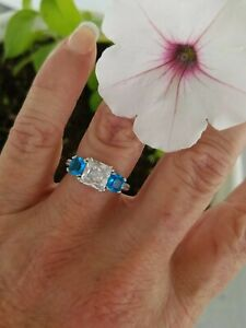 Classic Princess Cut White & Tropical Blue  Topaz Three Stone Ring, 925, Sz 8