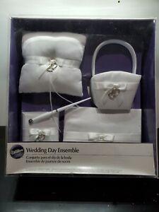 Wedding Day Ensemble by, Wilton Matching 4-Piece Classic Set White Satin
