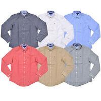Tommy Hilfiger Mens Shirt Buttondown Cotton Linen Long Sleeve Flag Logo Nwt New