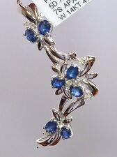 14k White Gold Diamond & Sapphire Flower Pendant