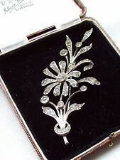 ANTIQUE JEWELLERY VICTORIAN 800 SILVER CLEAR PASTE FLOWER SPRAY BROOCH/PIN